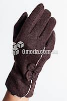 Кашемировые женские перчатки (кор, строчки+бант)