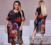 Платье прямое принт цветы шифон 48,50,52,54,56,58