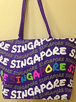 Большая пляжная фиолетовая сумка