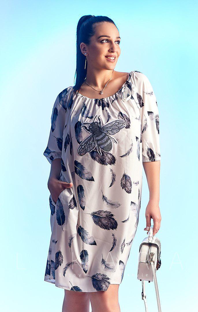 39aaa112e260 Белое платье свободного силуэта батал - Магазин модной одежды ILL   ART в  Днепре