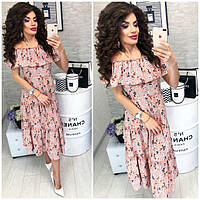 Платье ,длинное с воланом, модель 101, с цветочным принтом на персиковом фоне., фото 1