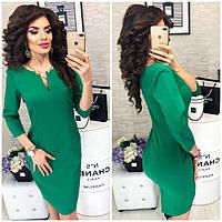 """Платье с брошкой - булавкой, модель 805, цвет - зеленый """"трава"""""""