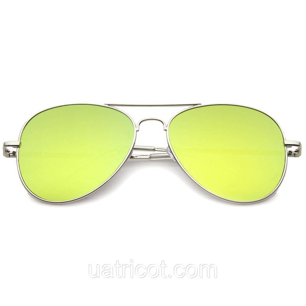 Мужские солнцезащитные очки авиаторы в серебряной оправе с желтой линзой