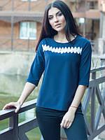 Офисная женская блуза Леона синего цвета