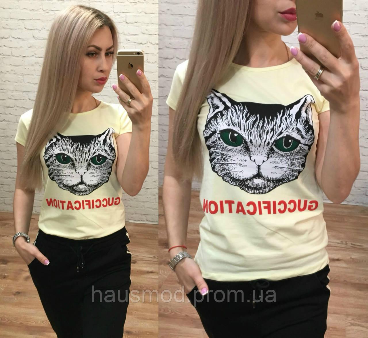 Женская футболка стрейч катон репликаGucci Fication лимон