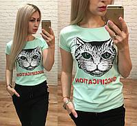 Женская футболка стрейч катон репликаGucci Fication мята, фото 1