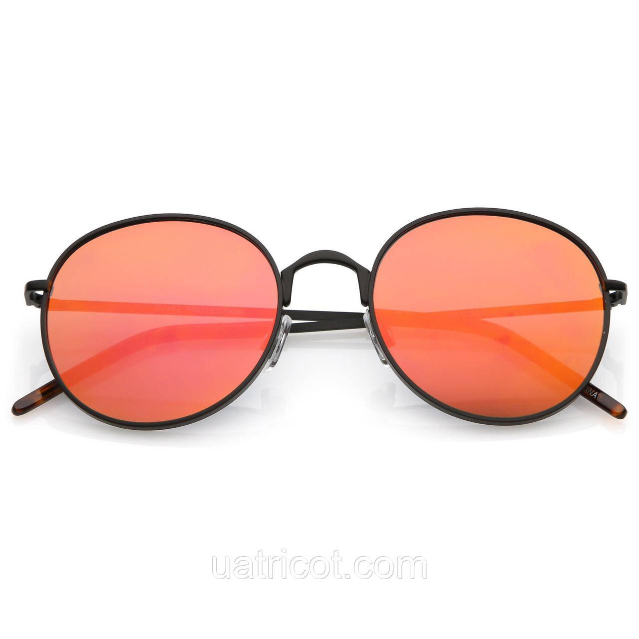 Женские круглые солнцезащитные очки Retro с оранжевой зеркальной линзой