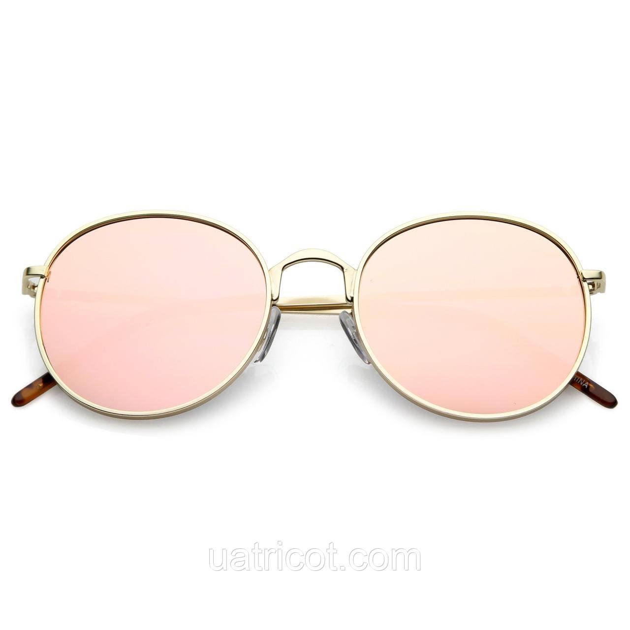 Женские круглые солнцезащитные очки Retro с розовой зеркальной линзой