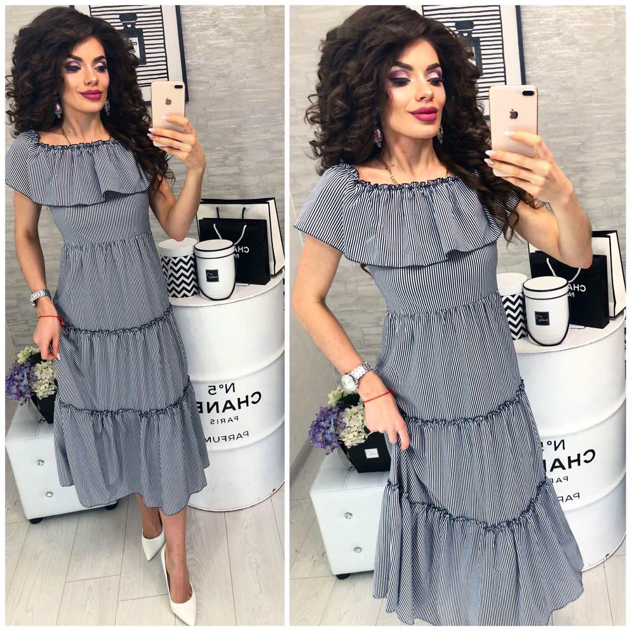 Платье в черно-белую полосочку ,летнее с воланом, женское, модель 101