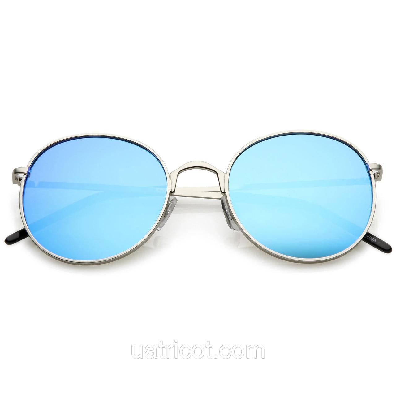 Женские круглые солнцезащитные очки Retro с голубой зеркальной линзой