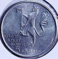 Монета Норвегии 5 крон 1975 г.