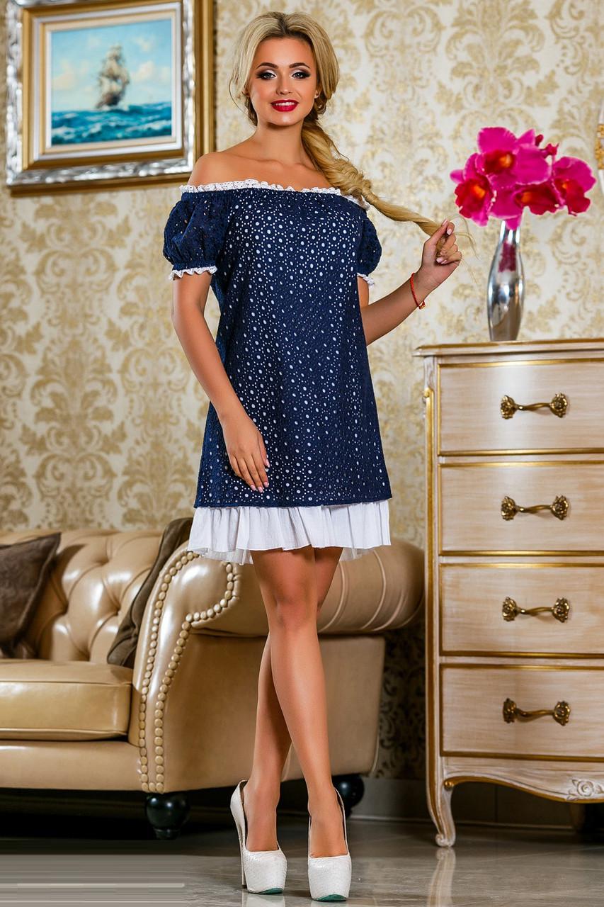Летнее платье с прошвой 2248 44–50р. в расцветках