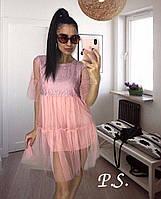 Романтическое, женское платье из фатина с кружевной кокеткой Фабричный Китай