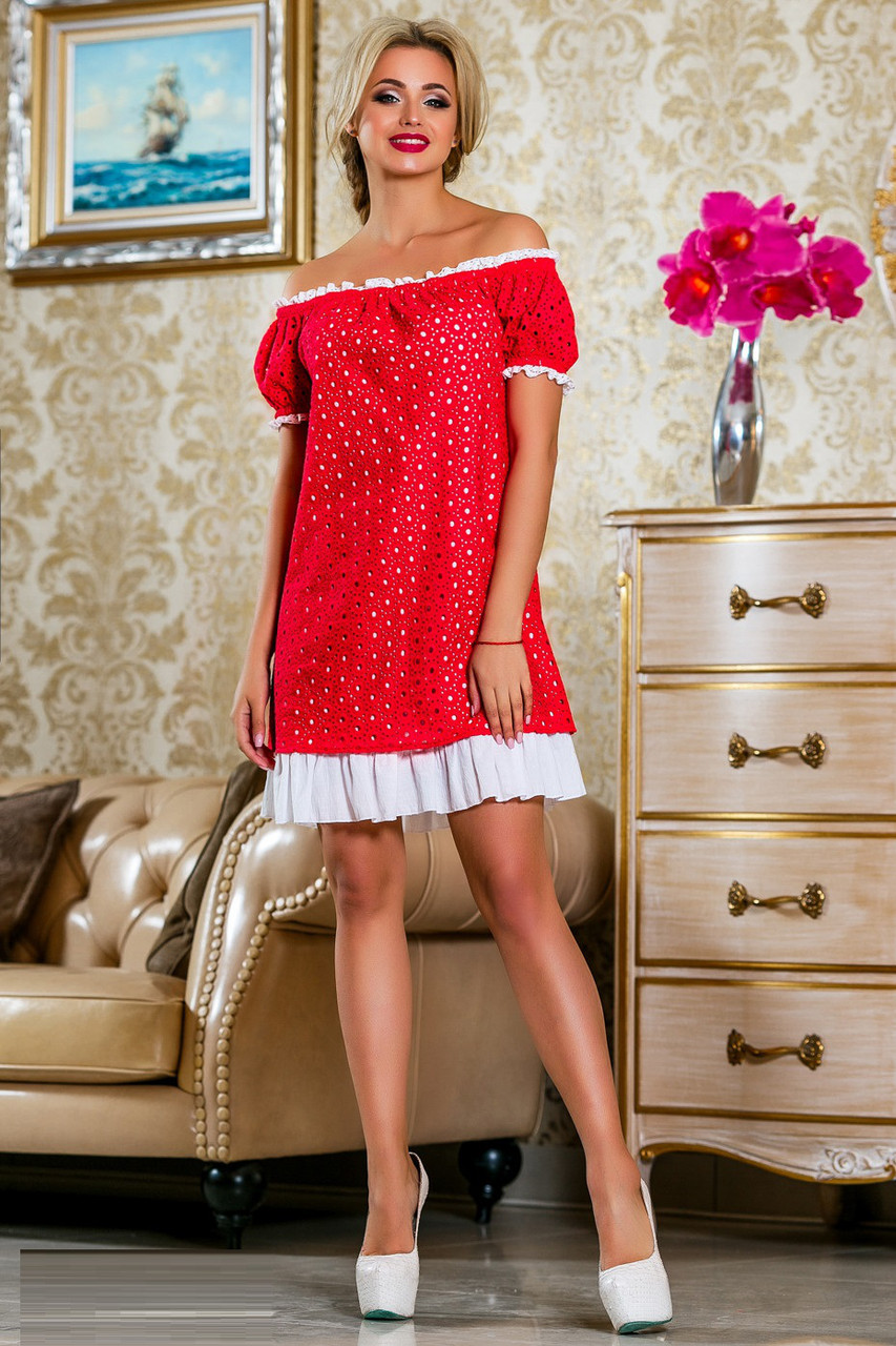 Летнее батистовое платье с прошвой 822 (42–52р) в расцветках