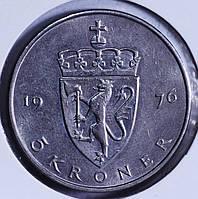 Монета Норвегии 5 крон 1976 г.