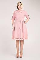 Элегантное женское платье-рубашка с кружевом пудрового цвета, фото 1