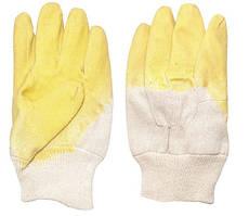 Перчатка стекольщика тканевая покрытая рифленым латексом на ладони (желтая) (ящик 120 пар) Intertool