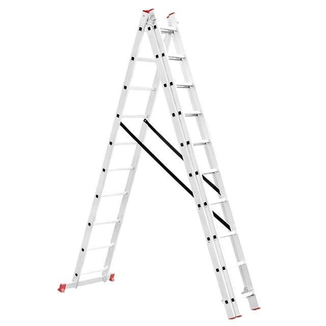 Лестница алюминиевая 3-х секционная универсальная раскладная 3*10ступ. 6.77м Intertool LT-0310