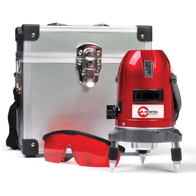 Уровень лазерный Проф. 5 лазерных головок,звуковая индикация Intertool MT-3011