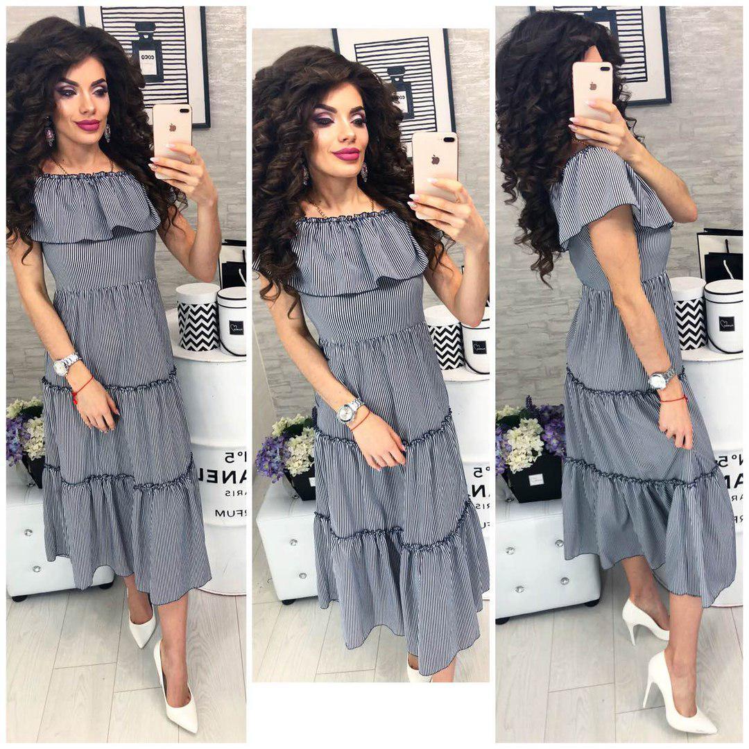 Платье летнее с воланами, новинка 2018, модель 101, цвет - черно-белая полосочка