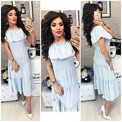 Платье летнее с воланами, новинка 2018, модель 101, голубая полосочка