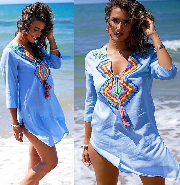 b6b5fbea16a5b6a Яркие и белые пляжные платья, туники, парео, накидки Испания
