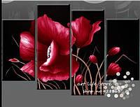 """Картина из 4 элементов """"Акриловый цветок"""""""