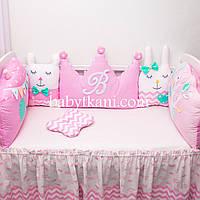 """Зашита в кроватку. Бортики игрушки. Бортики зверюшки. Бебитойсы """"Розовый мир № 1"""" на 3 стороны"""