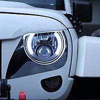 Светодиодные фары 7 дюймов с ДХО и поворотами (2101, Нива, Jeep, Mercedes, Toyota) Хром