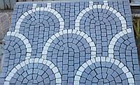 """Плитка тротуарная копия брусчатки.    Камни 100*100мм связанные в рисунок (пласт) «Круглая чешуя"""" 40мм"""
