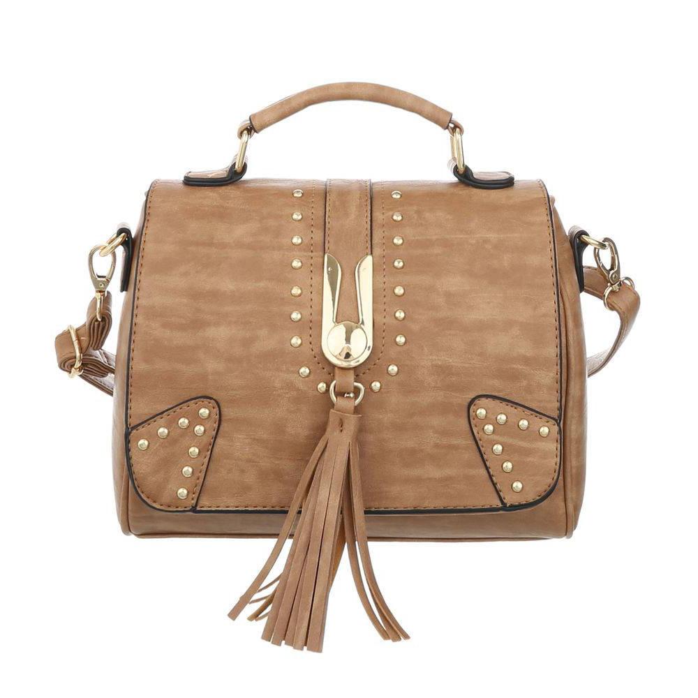 Женская сумка с заклепаками и кисточкой (Европа) Коричневый