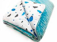 Одеяло-плед в каляску плюш голубой с голубыми шарами на белом 80х100