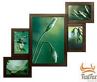 Мультирамка на 5 фото из натурального дерева
