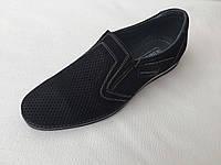 Мужские кожаные туфли с перфорацией с 40 по 45 размер чёрные