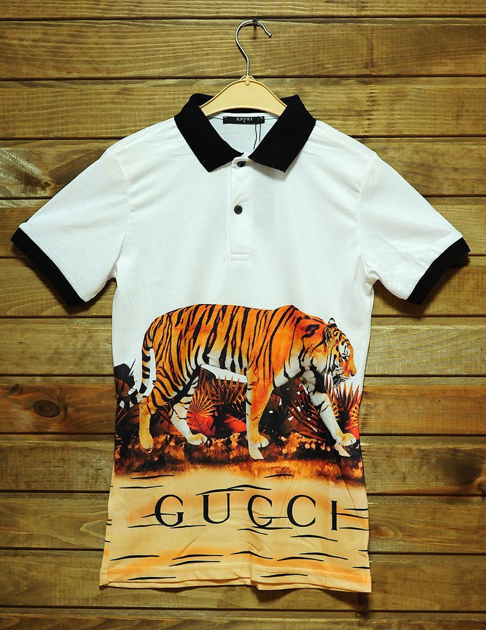 c920bc863068 Мужская футболка поло Gucci с тигром (реплика) - Интернет-магазин вещей