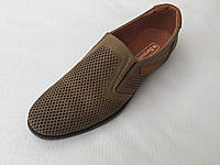 Мужские кожаные туфли с перфорацией с 40 по 45 размер олива