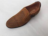 Мужские кожаные туфли с перфорацией с 40 по 45 размер рыжие