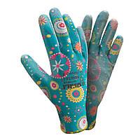 Перчатки трикотажные с частичным ПУ покрытием размер 8 (синие манжет) Sigma (9446561)