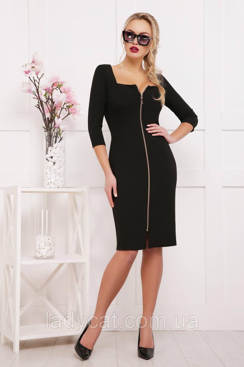 face1a8c937 Облегающие черное женское платье до колен с рукавом три четверти ...