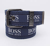 Текстильный ремень для джинсов Hugo Boss 4800-111 синий, ширина 43 мм, фото 1