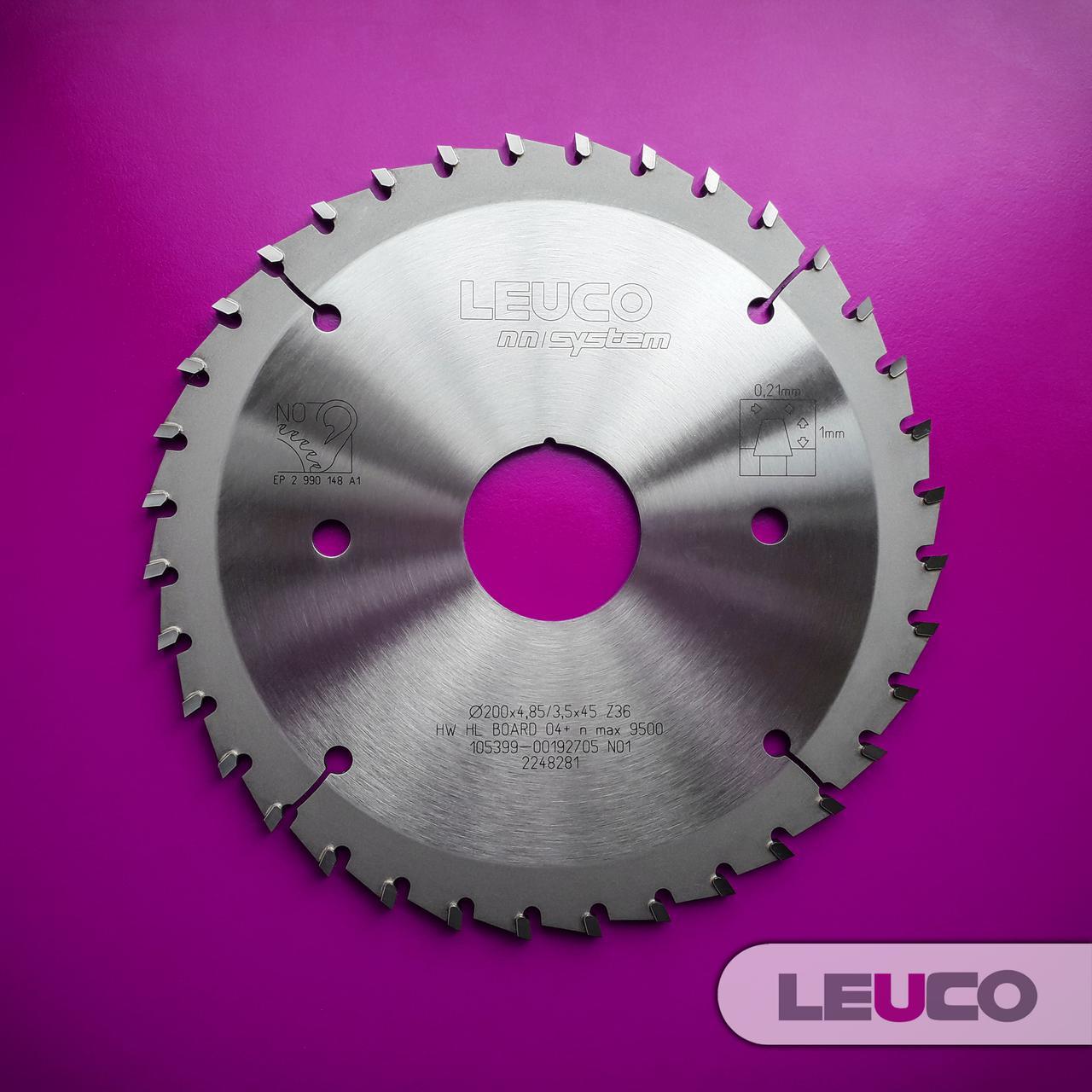 Подрезная дисковая пила Leuco - nn-System для пильных центров, 200x4,85-5,65x3,5x45, Z=36
