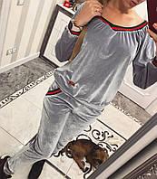 Шикарный велюровый костюм Маргаретт серый, фото 1