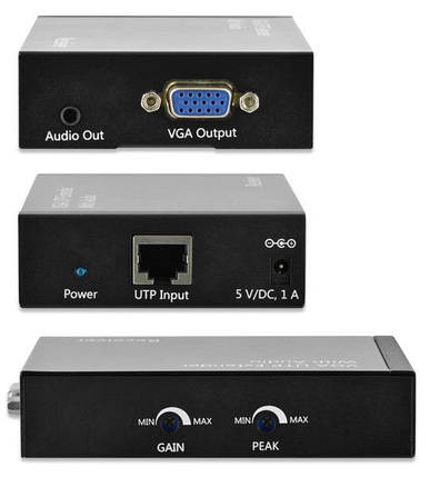 Подовжувач VGA Digitus extender over UTP receiver unit, Black, фото 2