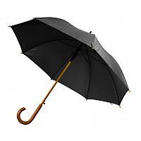 Зонт-трость полуавтомат черного цвета, фото 1