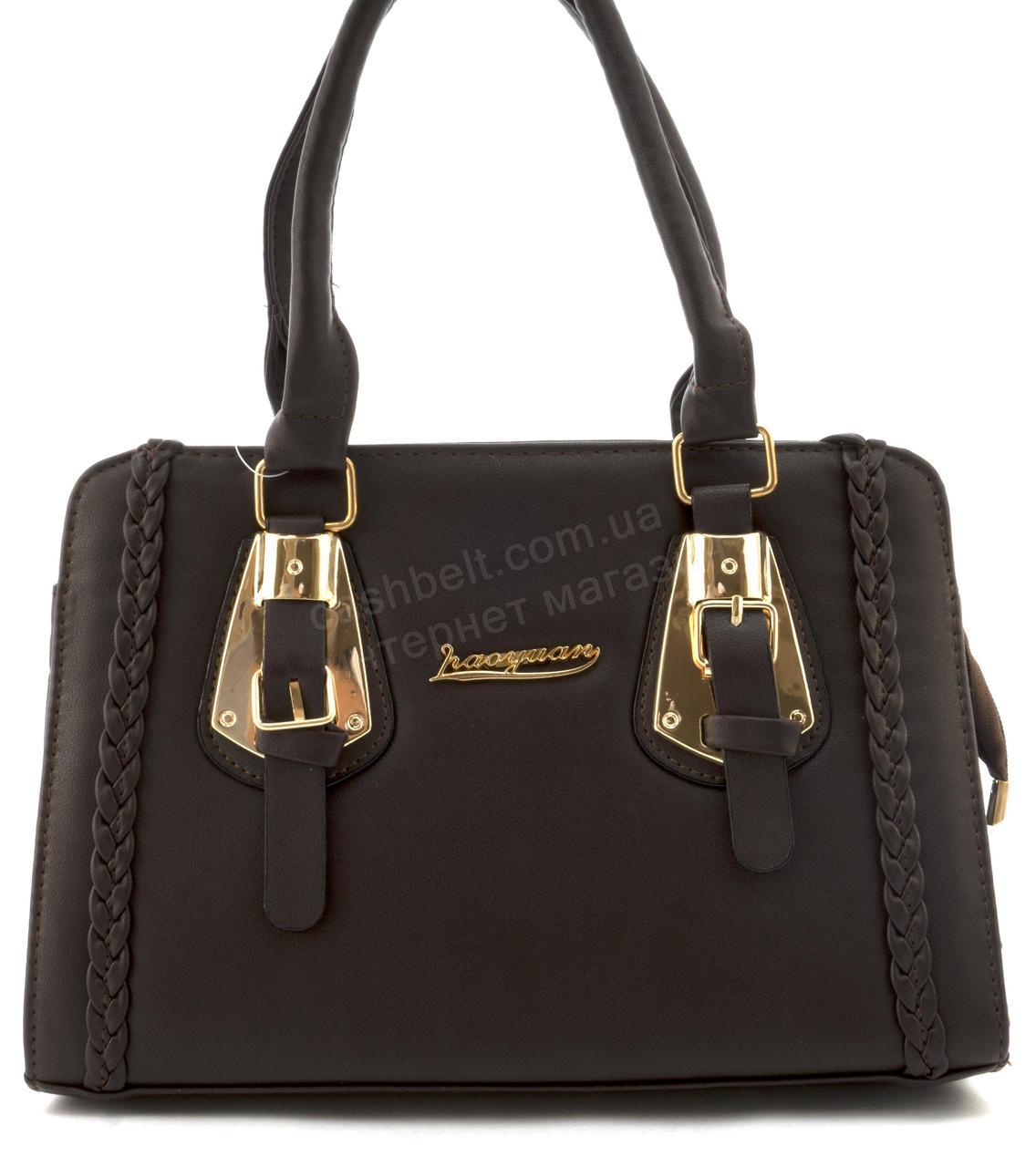 Оригинальная недорогая прочная элегантная женская сумка из эко кожи art. 053-2 коричневая