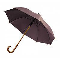 Зонт-трость полуавтомат коричневого цвета, фото 1