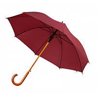 Зонт-трость полуавтомат бордового цвета