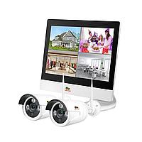 Комплект Wi-Fi IP видеонаблюдения с 2-мя камерами Outdoor Wireless Kit LCD 1MP 2xIP, фото 1