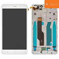 Дисплейный модуль (дисплей + сенсор) для Xiaomi Redmi Note 4X, с рамкой, белый, Snapdragon, оригинал