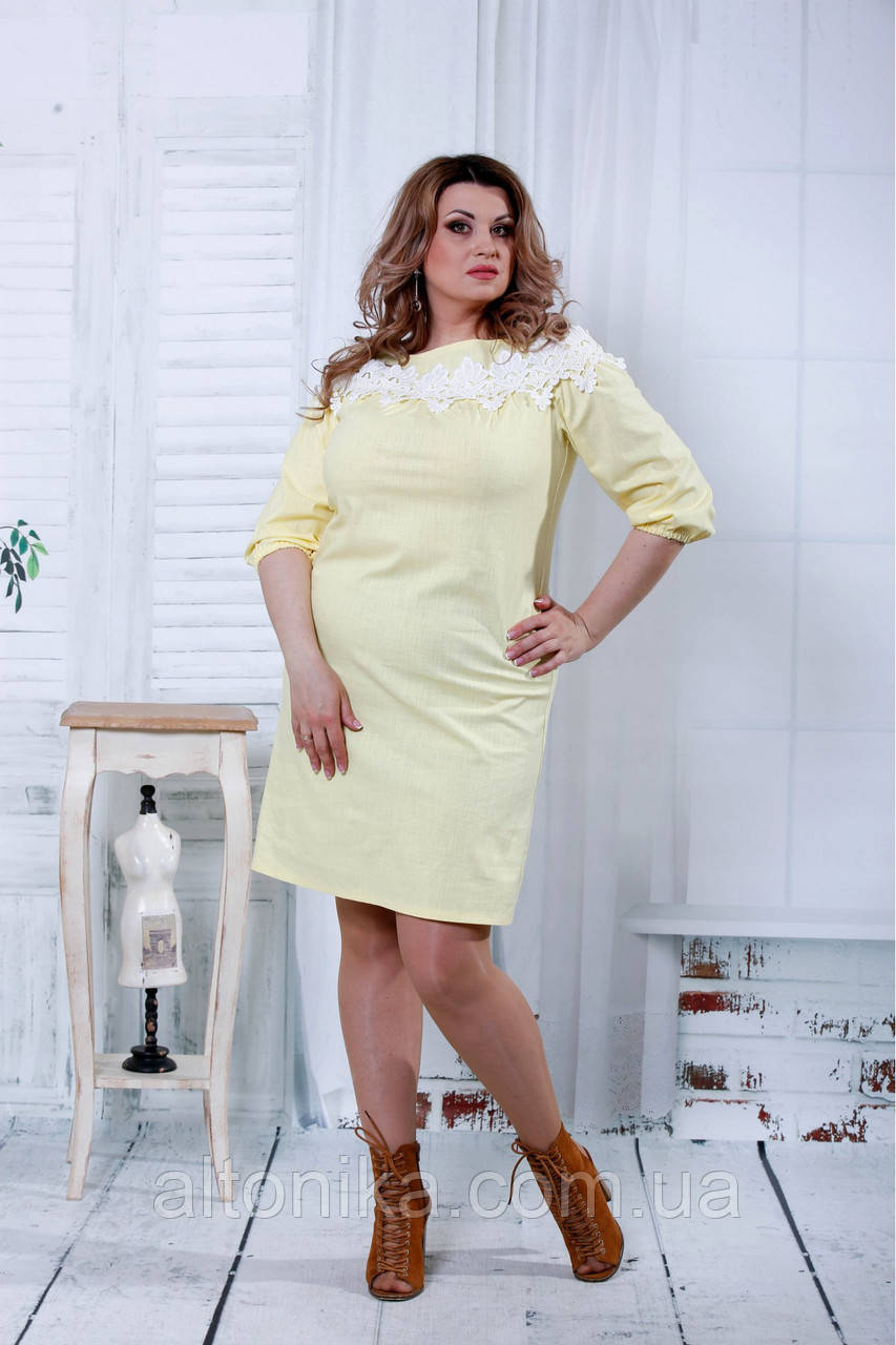 Летнее платье в пол с синим принтом | 0826-2 желтый